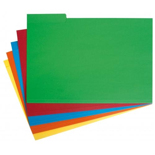 GRAFOPLAS 00176099. Pack 250 subcarpetas con pestaña lateral A4 de 240 gr. Colores surtidos