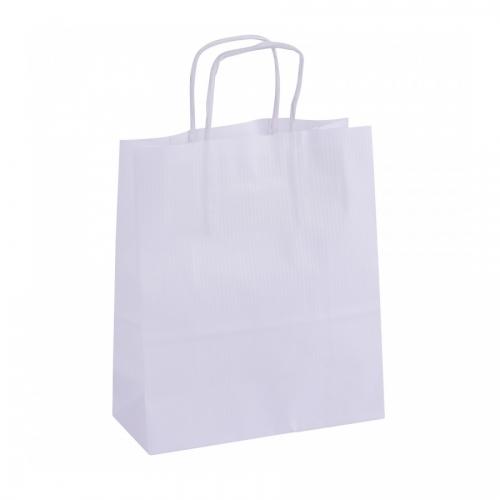 APLI 101853. Pack 50 bolsas de papel kraft color blanco (18 x 8 x 21 cm.)