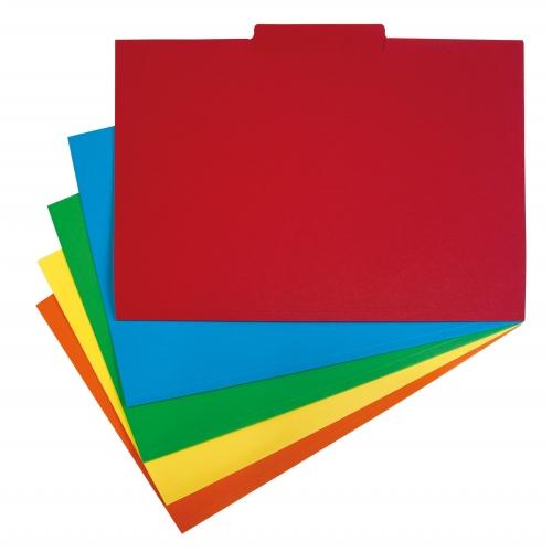 GRAFOPLAS 00178099. Pack 250 subcarpetas con pestaña central A4 de 240 gr. Colores surtidos