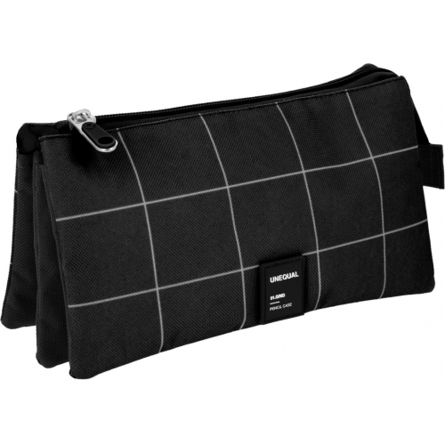 GRAFOPLAS 37542610. Estuche escolar portatodo triple Unequal Grid negro