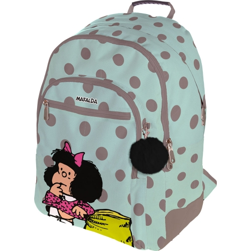 GRAFOPLAS 37500153. Mochila escolar Rubber Mafalda Dots