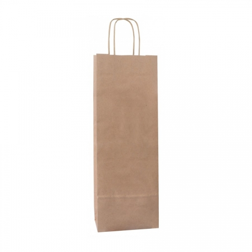 APLI 102540. Pack 50 bolsas para botellas de papel kraft color marrón (16 x 8 x 39 cm.)