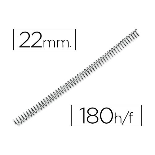 Q-Connect KF04435. Caja de 100 espirales metálicas negras 22 mm