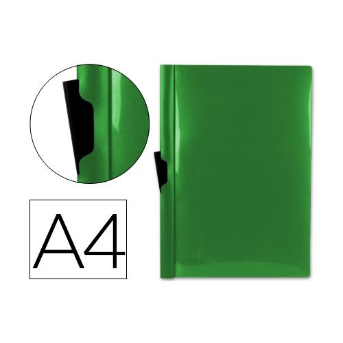 Liderpapel DP02. Carpeta dossier verde con pinza lateral de polipropileno 30 hojas A4