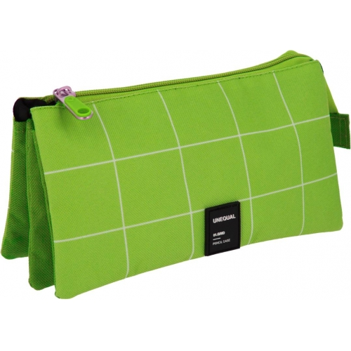 GRAFOPLAS 37542620. Estuche escolar portatodo triple Unequal Grid verde