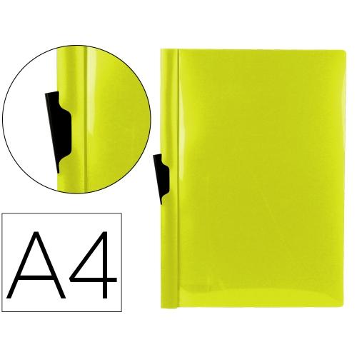 Liderpapel DP21. Carpeta dossier amarilla flúor con pinza lateral de polipropileno 30 hojas A4
