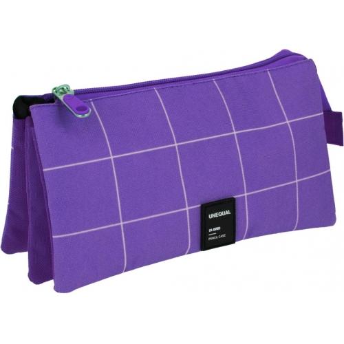 GRAFOPLAS 37542635. Estuche escolar portatodo triple Unequal Grid violeta