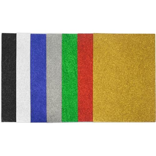 GRAFOPLAS 68000220. Pack 5 láminas de Goma Eva purpurina de 40 x 60 cm. Color verde