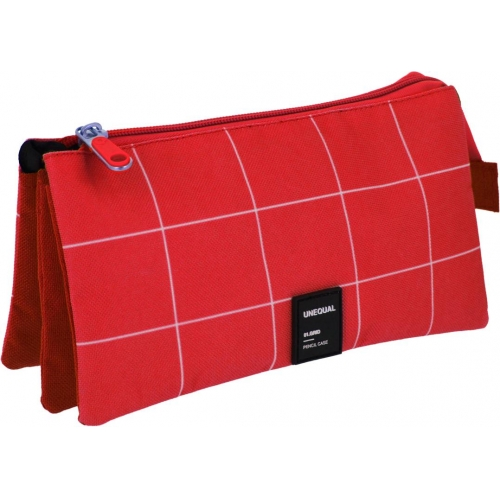 GRAFOPLAS 37542651. Estuche escolar portatodo triple Unequal Grid rojo