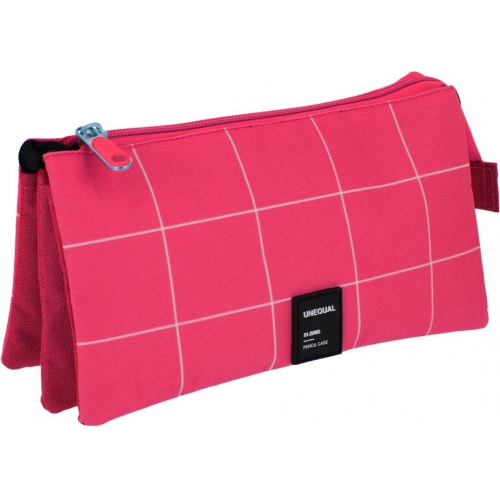 GRAFOPLAS 37542654. Estuche escolar portatodo triple Unequal Grid fucsia