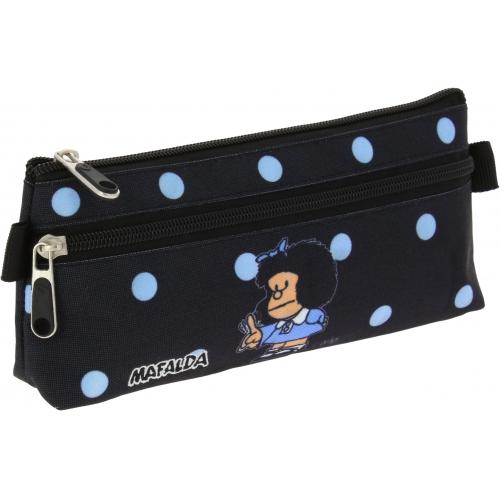 GRAFOPLAS 37540772. Estuche escolar portatodo plano Mafalda Lunares