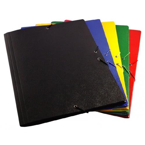 Mariola 5285NE. Carpeta de gomas con solapas folio de cartón gofrado negro