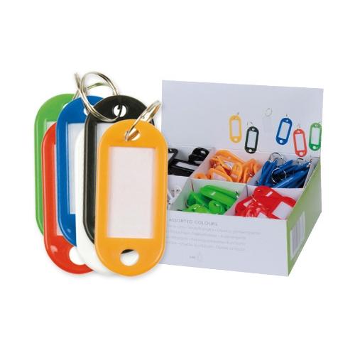 Q-Connect KF108609. Caja 100 llaveros portaetiquetas