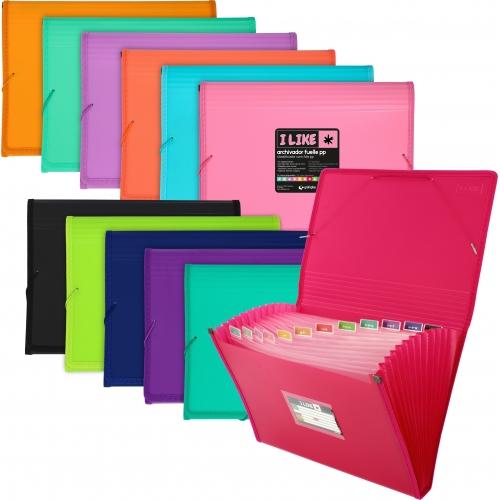 GRAFOPLÁS 029632. Clasificador fuelle con gomas Folio 13 departamentos. Varios colores