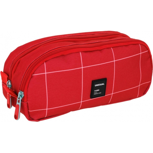 GRAFOPLAS 37542751. Estuche escolar portatodo doble Unequal Grid rojo