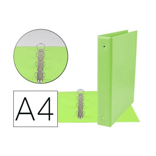 Liderpapel KA09. Carpeta de 4 anillas 40 mm mixtas A4 pvc color verde pistacho