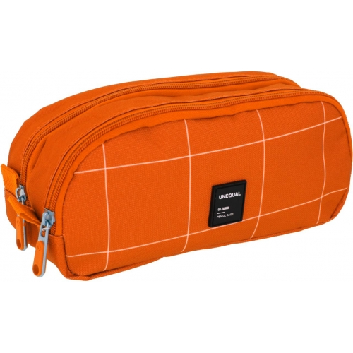 GRAFOPLAS 37542752. Estuche escolar portatodo doble Unequal Grid naranja