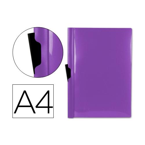 Liderpapel DP08. Carpeta dossier violeta frosty con pinza lateral de polipropileno 30 hojas A4