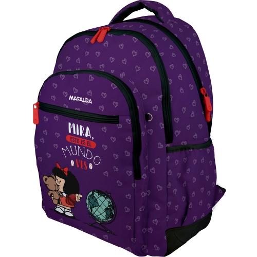 GRAFOPLAS 37500193. Mochila escolar Rubber Mafalda Mundo