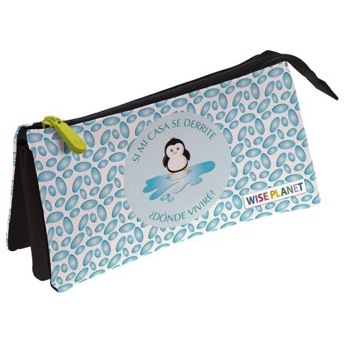 GRAFOPLAS 37540696. Estuche escolar portatodo triple Planet Pingüino