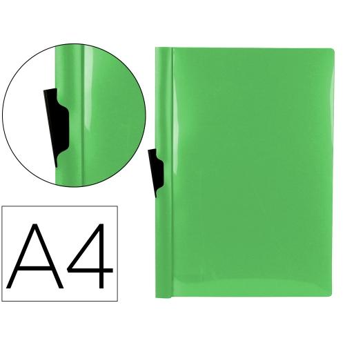 Liderpapel DP25. Carpeta dossier verde manzana con pinza lateral de polipropileno 30 hojas A4