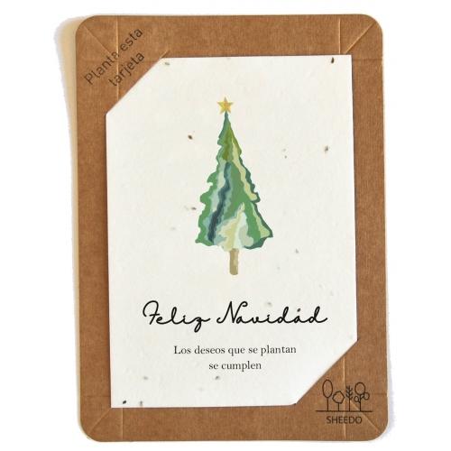 SHEEDO Tarjeta plantable - Feliz Navidad. Los deseos que se plantan se cumplen