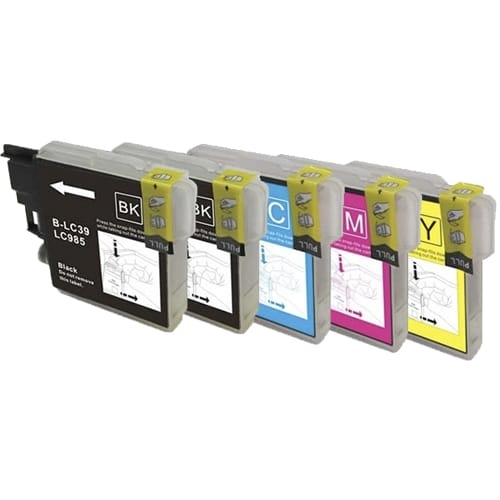 Iberjet B985P Pack 5 cartuchos de tinta compatibles, reemplaza a Brother (LC985BK - LC985C - LC985M - LC985Y)