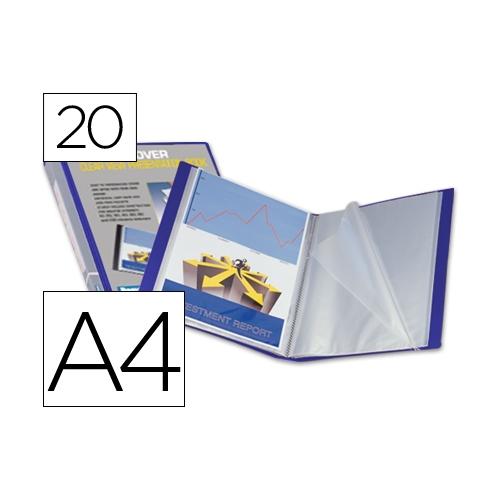 Liderpapel 23042. Carpeta 20 fundas de polipropileno A4 azul