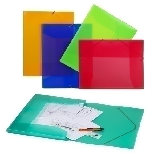 CARCHIVO 2034KF. Carpeta de dibujo de polipropileno transparente A3 con gomas y solapas. Colores