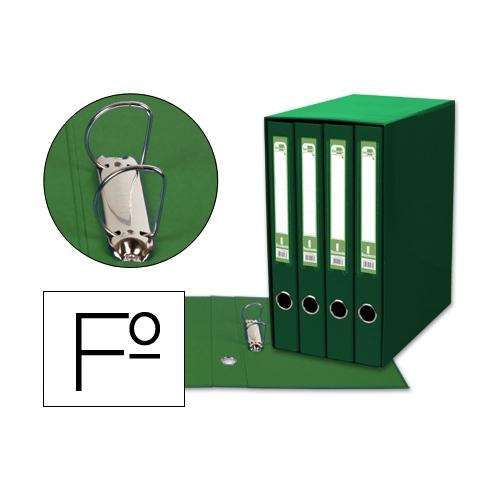 Liderpapel MD44. Módulo verde 4 archivadores folio 2 anillas mixtas 25 mm
