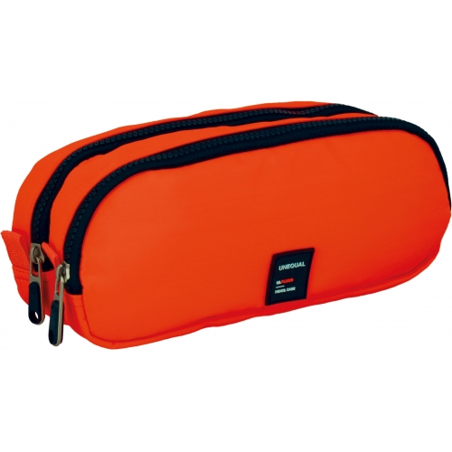 GRAFOPLAS 37543552. Estuche escolar portatodo doble Unequal Flúor naranja