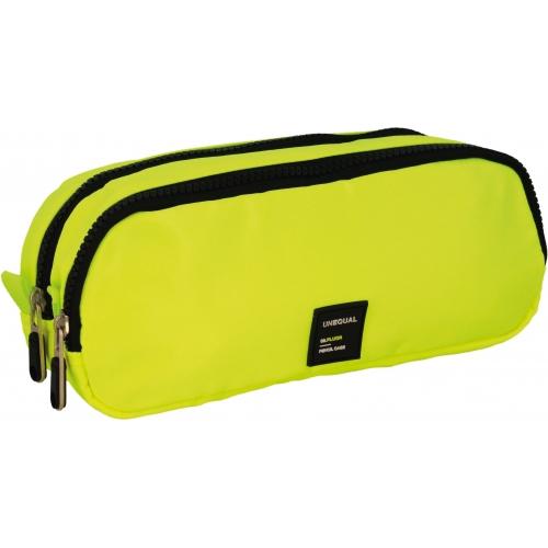 GRAFOPLAS 37543561. Estuche escolar portatodo doble Unequal Flúor amarillo