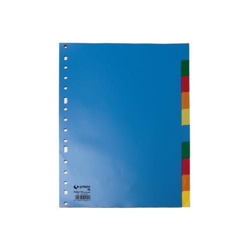 GRAFOPLÁS 44280000 Pack 10 Separadores de polipropileno opaco A4 16 taladros.