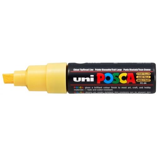 UNI POSCA PC-8K Amarillo pajizo. Marcador de pintura no permanente. Trazo 8,0 mm