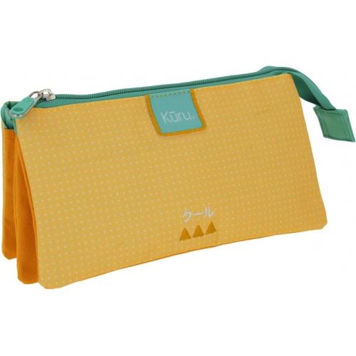 GRAFOPLAS 37542860. Estuche escolar portatodo triple Kuru amarillo
