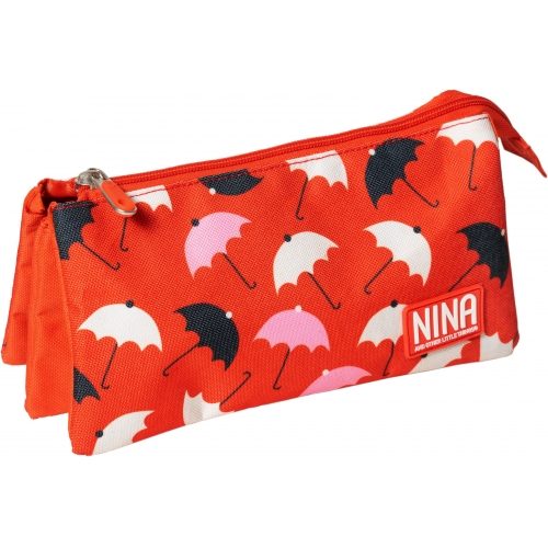 GRAFOPLAS 37540676. Estuche escolar portatodo triple Nina Umbrellas