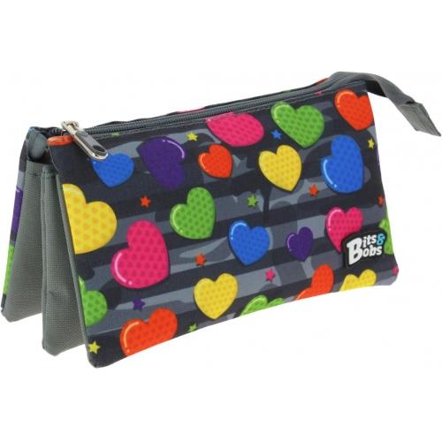 GRAFOPLAS 37543002. Estuche escolar portatodo triple Bits & Bobs Heart