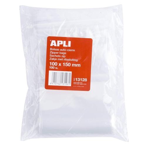 APLI 13128. Bolsas de plástico autocierre (100 x 150 mm.)