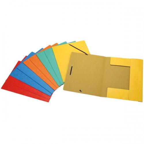 GRAFOPLÁS 98490199 Carpeta A4 cartón 400 gr con 3 solapas y cierre de goma. Colores surtidos
