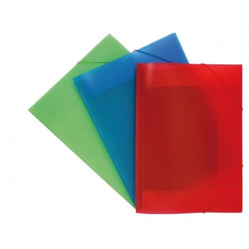 GRAFOPLÁS 04801399 Carpeta A3 de polipropileno translúcido con solapas y cierre de goma. Colores surtidos