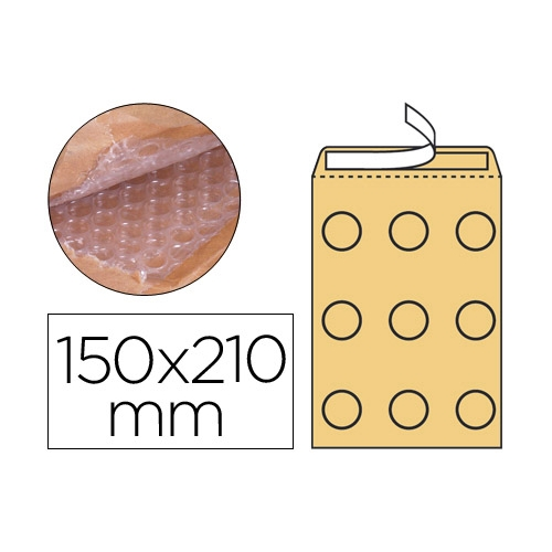 Q-Connect KF15012. Pack 10 sobres acolchados burbujas de 150 x 210 mm.