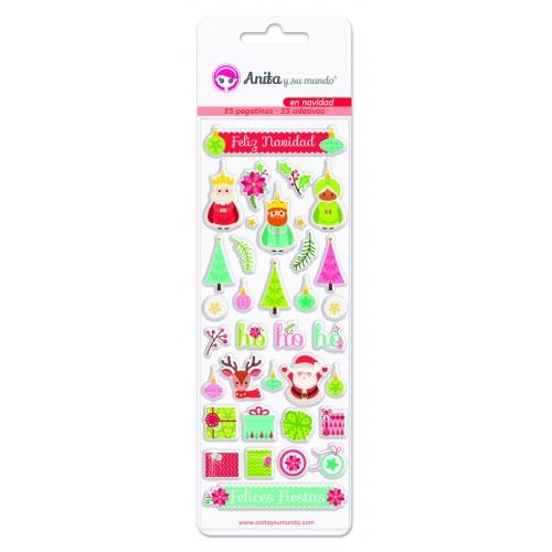 GRAFOPLAS 37081100. Pack 35 pegatinas con relieve colección En Navidad