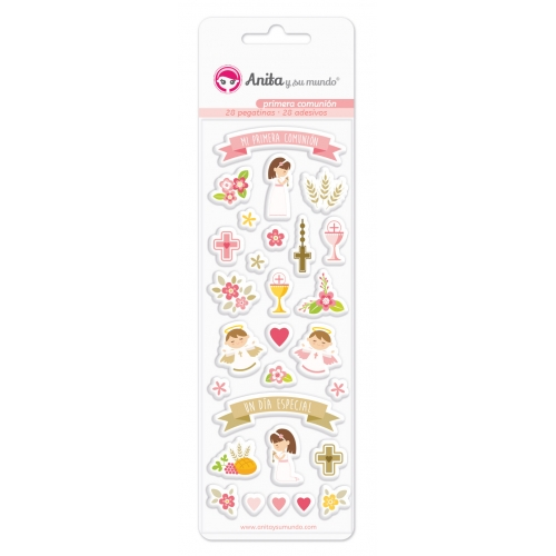 GRAFOPLAS 37081200. Pack 28 pegatinas con relieve colección Primera comunión niña
