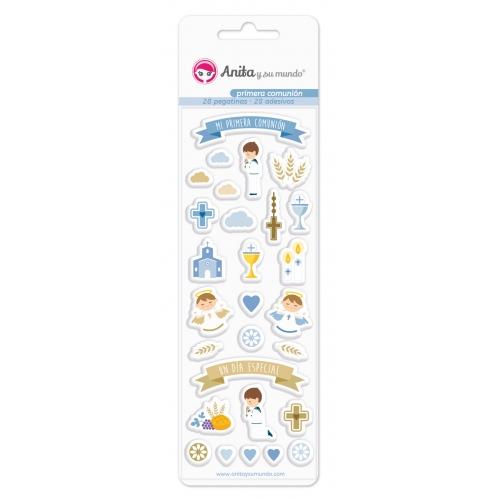 GRAFOPLAS 37081300. Pack 28 pegatinas con relieve colección Primera comunión niño