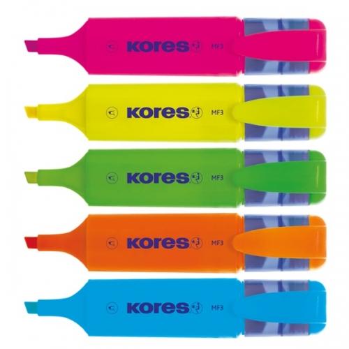 KORES MF3 Marcador fluorescente con punta biselada. Colores