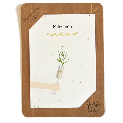 SHEEDO Tarjeta plantable - Feliz año nuevo