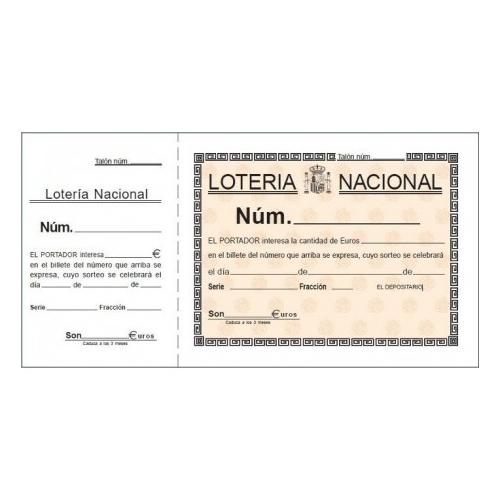 LOAN T-15. Talonario lotería dos tintas papel litos (21 x 10,5 cm.)