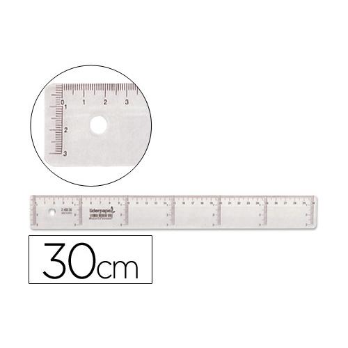 Liderpapel RG03. Regla 30 cm graduada plástico cristal