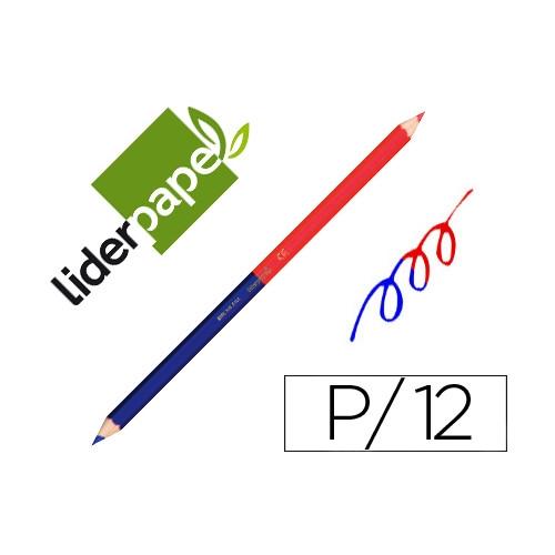 Liderpapel LC07 Lápiz bicolor rojo y azul.