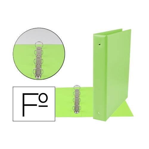 Liderpapel 73749. Carpeta folio 4 anillas 40 mm redondas plástico color verde pistacho